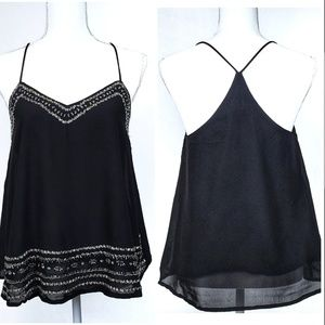 Angie Black Strappy Beaded Camisole Y Back Top S
